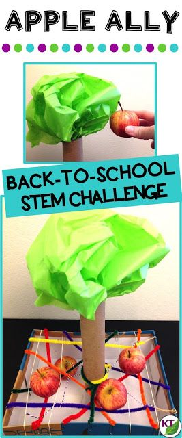 Back-to-School STEM Challenge: In Apple Ally, students build an apple catcher to protect falling apples from damage! This challenge is perfect for studies of gravity, forces, and motion, and includes modifications for grades 2-8.