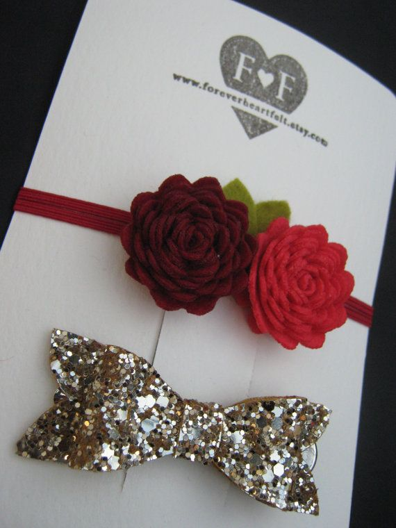 Duo of Handmade Felt Roses with Gold Glitter by ForeverHeartFelt