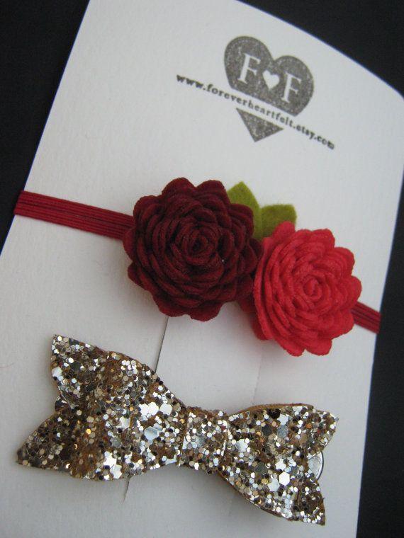 Duo of Handmade Felt Roses with Gold Glitter by ForeverHeartFelt