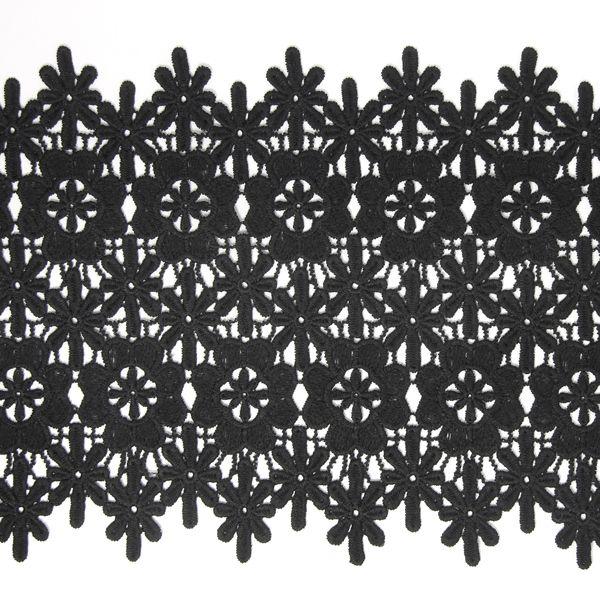 Ätzspitze Blume, extrabreit 2 (230) - Nylon - schwarz