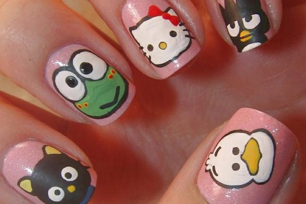 uñas de Hello Kitty y sus amigos