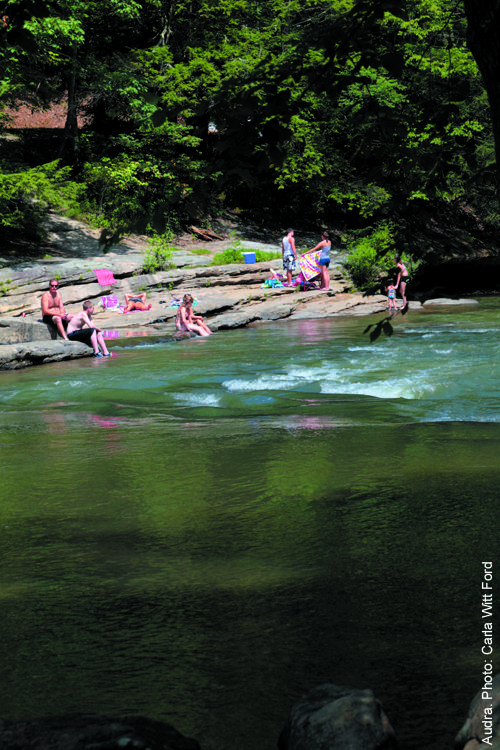 Audra  Audra State Park in Buckhannon is a West Virginia favorite. Swimming is allowed in the Middle Fork River, where a pool carved from th...