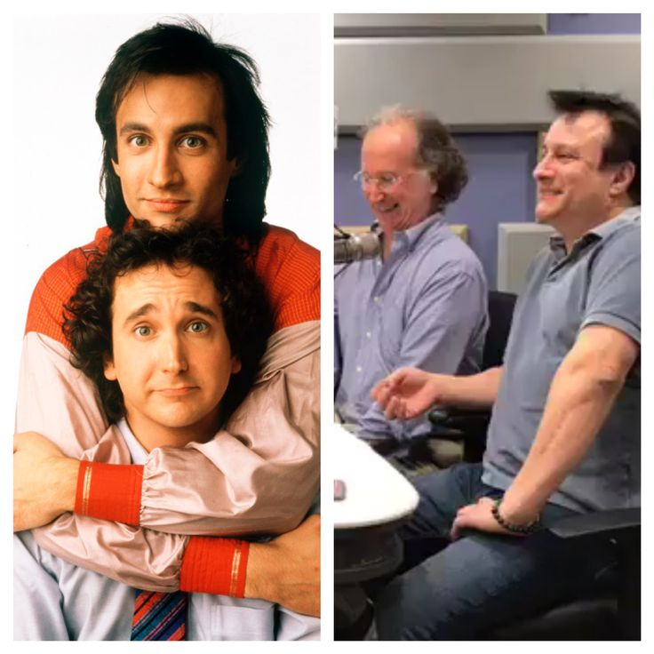 "Balki Bartokomous (Bronson Pinchot) and Larry Appleton (Mark Lin-Baker). And 25 years later! (""Family Matters,"" that later became the Urkel Show, spun off from ""Perfect Strangers."") #thenandnow #perfectstrangers #balki #bronsonpinchot #marklinbaker #thenandnowphotos"