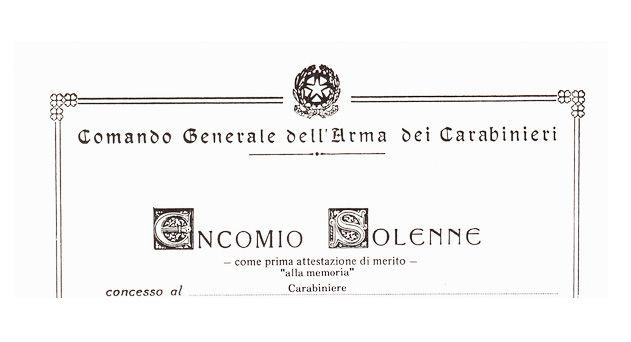Encomio solenne alla memoria del carabiniere Ciro Vitale: questa sera a Grottaglie la cerimonia di consegna ai familiari