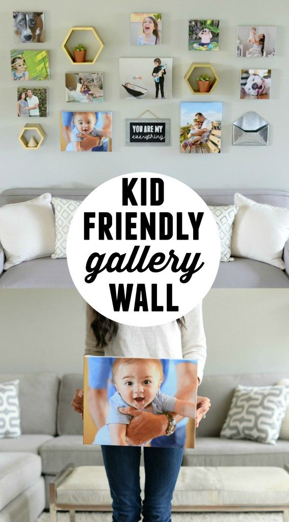 What an adorable gallery wall filled with kids objects! Such a fun way to personalize your home decor. Would make a great gift idea for grandparents, too!
