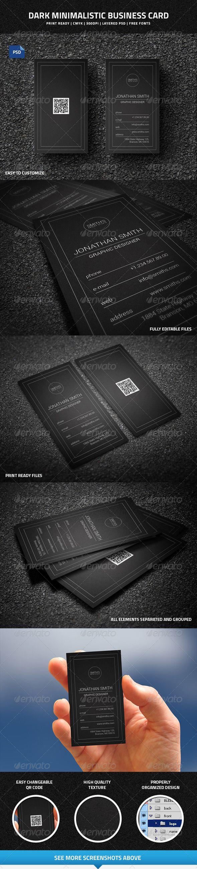 Dark Minimalistic Business Card with QR code - 43