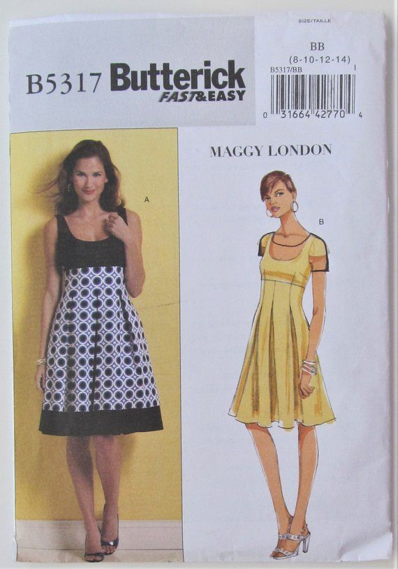 a64683b4aa Flared Dress Empire Waistline Fitted Lined Bodice Cap Sleeves Size 8 10 12  14 Sewing Pattern Maggy L