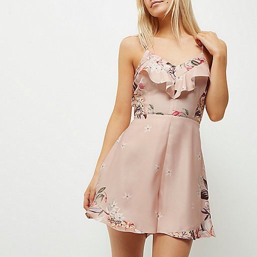 Pink floral frill cami playsuit - playsuits - playsuits / jumpsuits - women