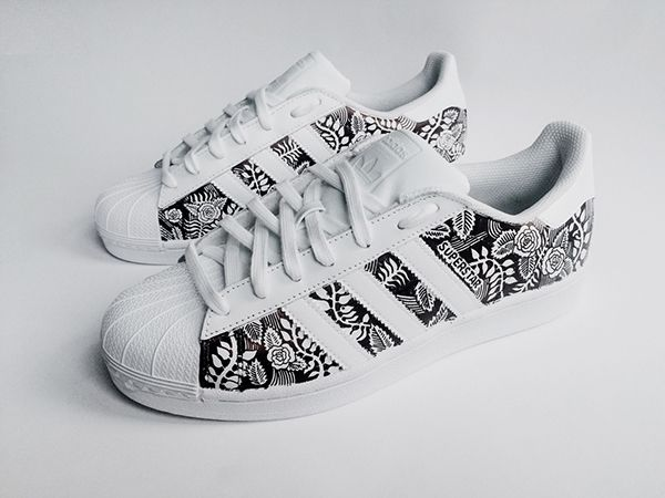 White Adidas Kids Superstar Floral City Gear