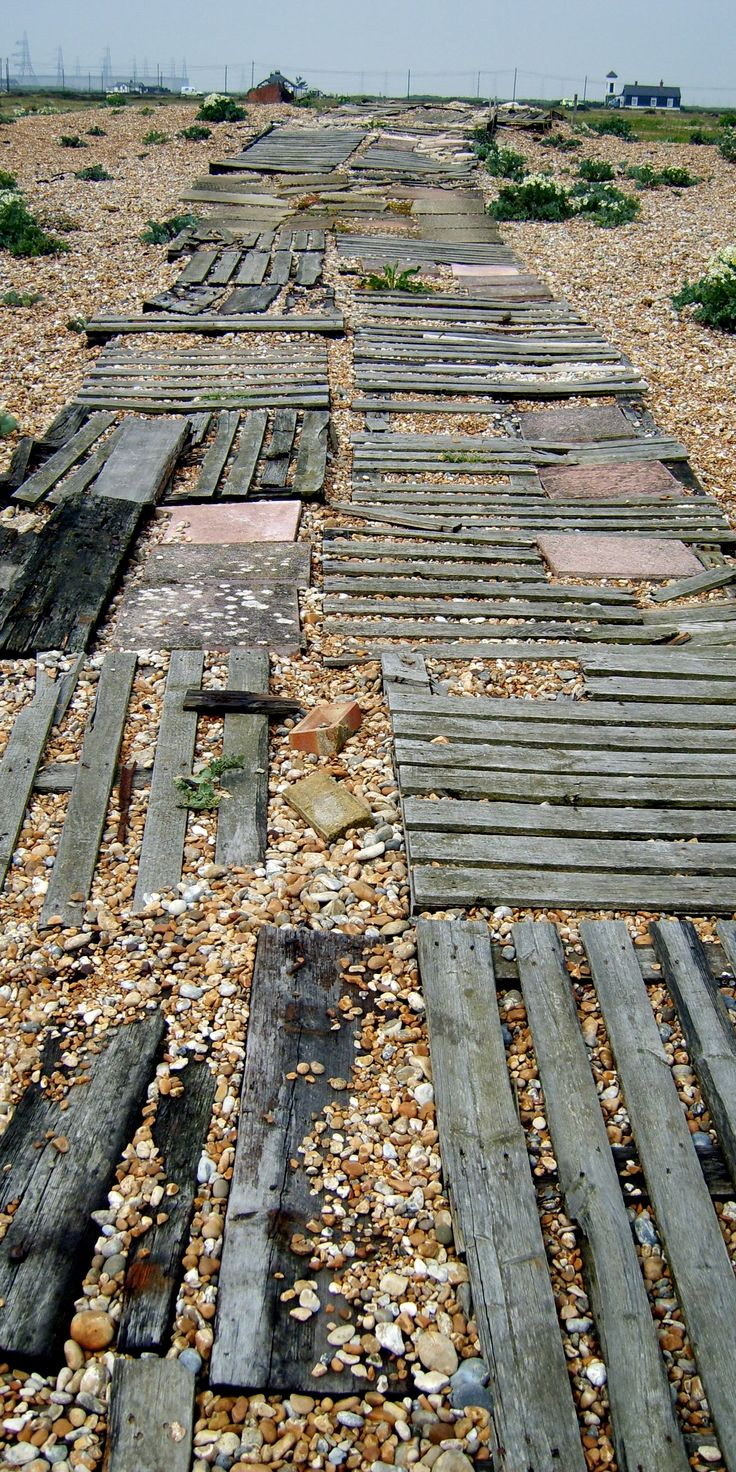 A walkway in the beach at Dungeness in Kent.