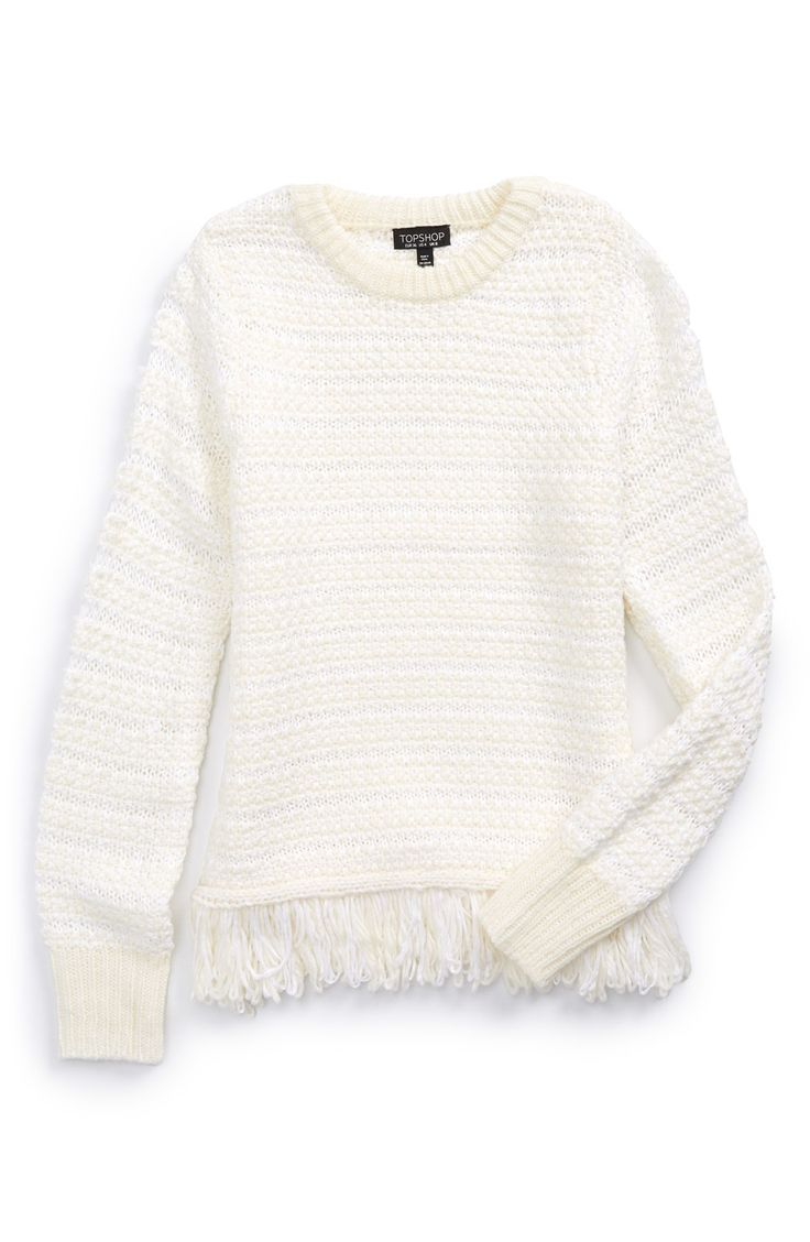 How charming is this fringe knit sweater? Can't wait to bundle up in this little number, along with a warm, cozy, blanket scarf and a pair of boots.