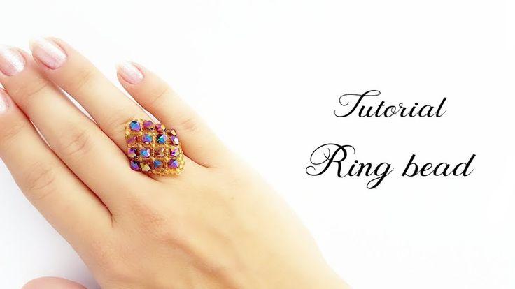 #МК - Кольцо Ромб из бисера и биконусов | #Tutorial - Ring Rhombus bead ...