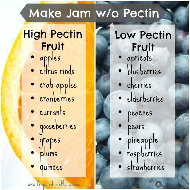 Which fruits are high and low in pectin? Use this when you make jam without pectin   PreparednessMama // Natural pectin fruits can be used alone, or added to a lower pectin fruit, to create jams without commercial processed pectin.