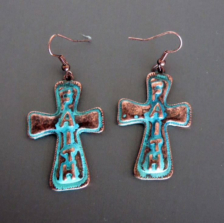 Cowgirl Bling FAITH TURQUOISE PATINA COPPER CROSS EARRINGS Gypsy Southwest our prices are WAY BELOW RETAIL! all JEWELRY SHIPS FREE! www.baharanchwesternwear.com