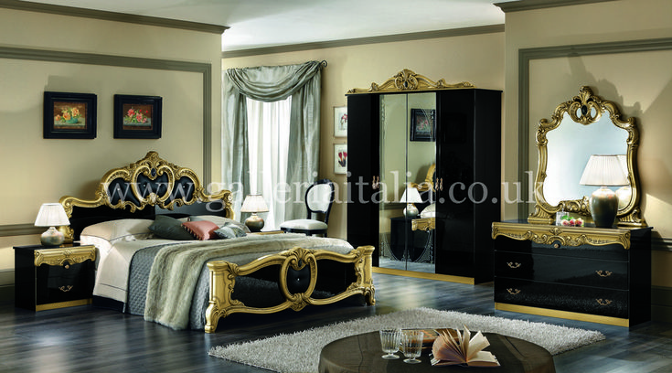 Never would i want this gold and black decorating ideas barocco black gold italian bedroom - Black and gold bedroom ideas ...