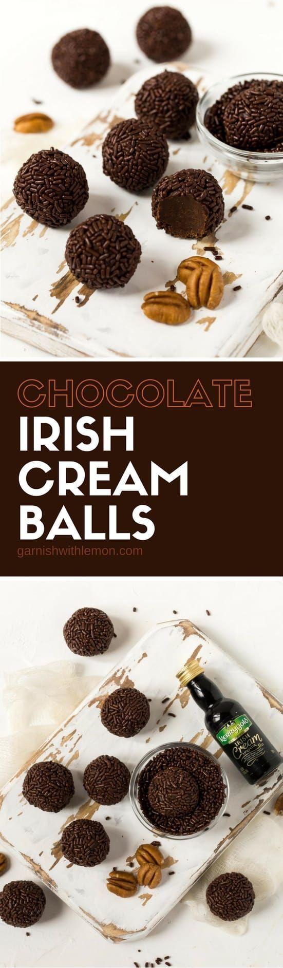 Homemade food gifts don't get much more decadent than these no-bake Dark Chocolate Irish Cream Balls.  Baileys would be my Irish Cream choice.
