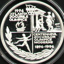 100 lei 1996 Centennial of the Modern Olympic Games 1896 - 1996 - reverse