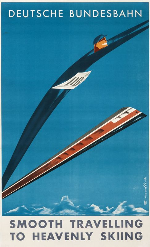 Deutsche Bundesbahn - Smooth Travelling to Heavenly Skiing, 1958ModlichPhoto offset   Backed on linen24.5″ x 39.5″Price Range: $2001 to $3800  CLICK FOR DETAILSSee More Ski Posters  Deutsche Bundesbahn - Smooth Travelling to Heavenly Skiing, 1958  Modlich
