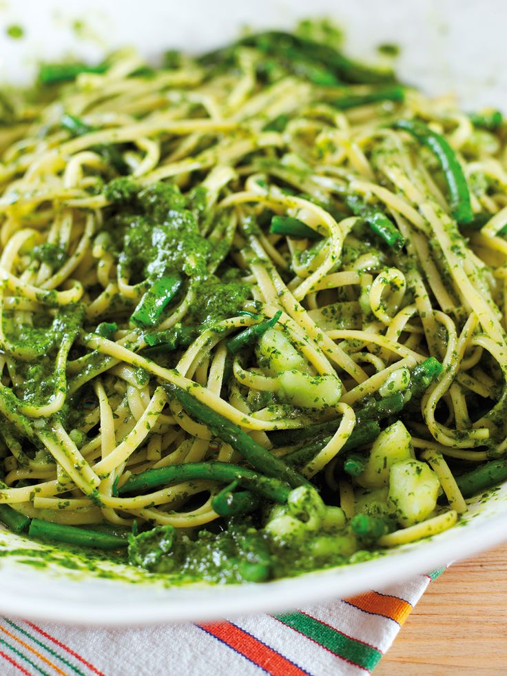 July 2016 Pasta Alla Genovese - fun to try! Next time, omit potatoes and green beans and add more pesto.