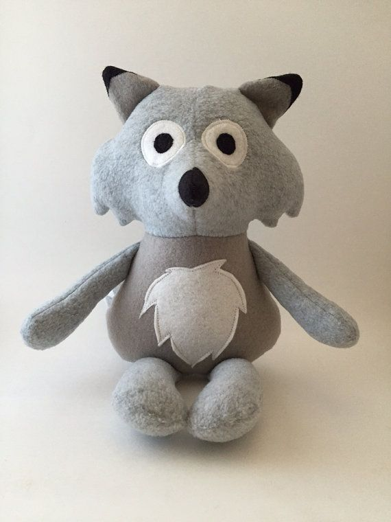 Stuffed wolf plush doll wolf stuffed animal by AHappyCarrotCrafts