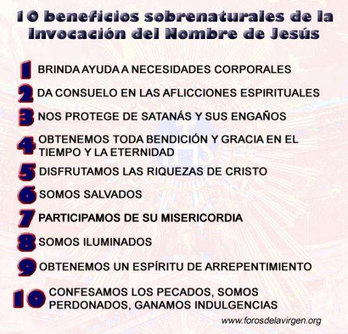10 beneficios sobrenaturales de la Invocación del Nombre de Jesús