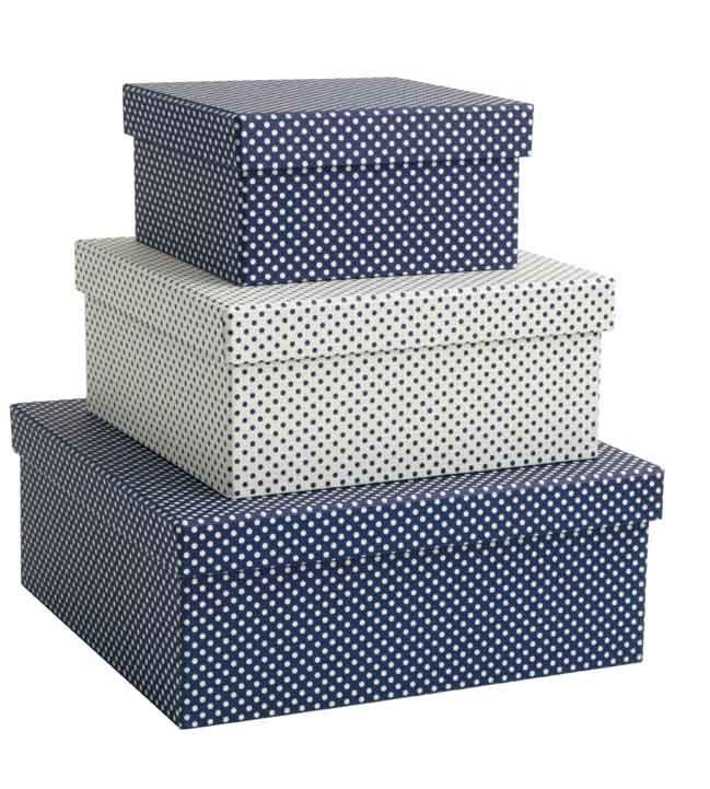 """Scatole rivestite con carta decorativa Tassotti """"Pois Blu"""" - Boxes covered with Tassotti decorative paper """"Pois Blu"""""""