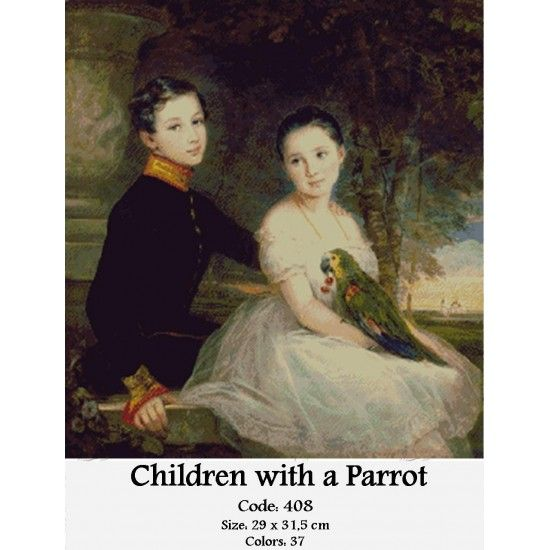 CrossStitch Set Children with a Parrot http://gobelins-tapestry.com/portraits/855-children-with-a-parrot.html