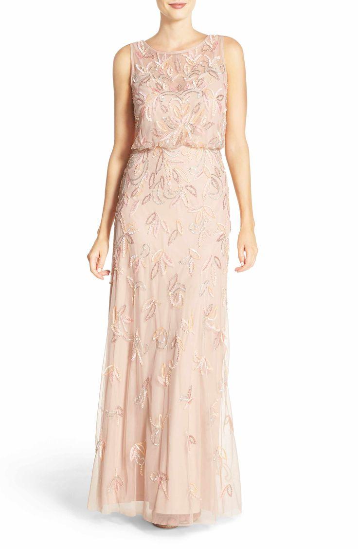 pink bridesmaids dress leaf embellished dress - Adrianna Papell Embellished Blouson Gown (Petite)