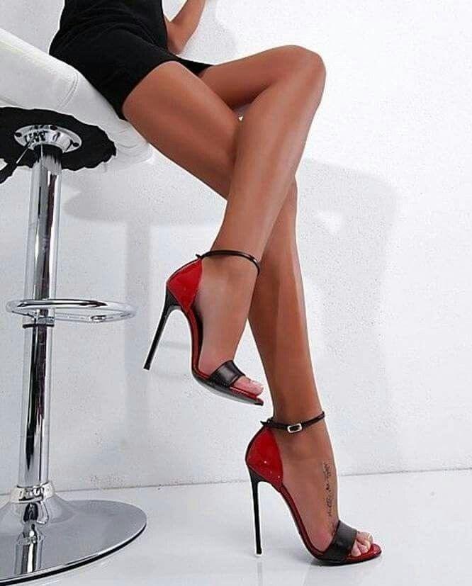 Sexy Woman Legs In Red High Heels Canvas Print