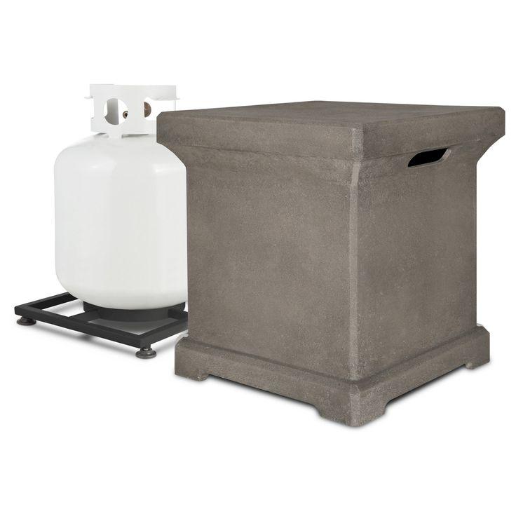 Monaco 20 lb. Lightweight Fiber - Concrete Propane Tank Cover - Square - Glacier Gray - Real Flame