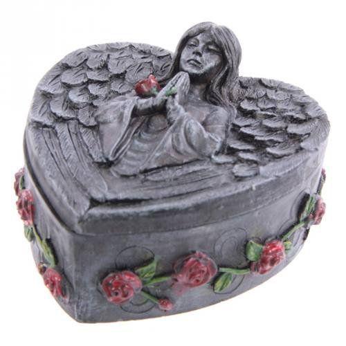 Gothic Dark Angel Heart Shaped Trinket Box