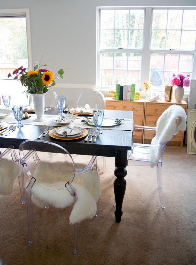 I Love Our Dark Wood Farmhouse Dining Table And Ghost Chair Sheepskin Combo But Does This Room Need Some Har Posts From Glitter Goat Cheese