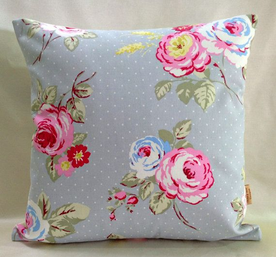 English Rose vintage shabby chic throw pillow cushion cover. with cla?
