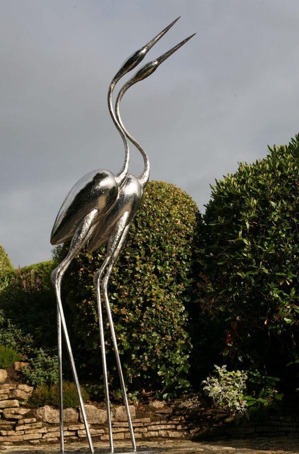 Forged Stainless Steel #sculpture by #sculptor Andy Hopper titled: 'Infinitum (stainless Steel Herons Waders sculptures)'. #AndyHopper