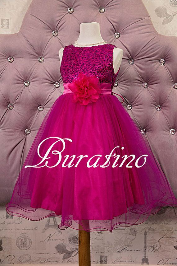 Flower Girl Dress Fuchsia  Sequin Double Mesh Flower Girl  Special occasion Toddler girl Dress on Etsy, $40.00