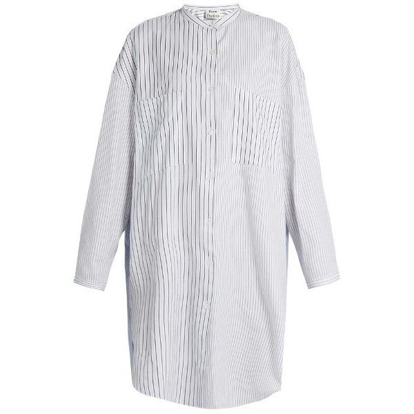Acne Studios Esloane striped long-sleeved cotton shirtdress (€365) ❤ liked on Polyvore featuring white multi and acne studios