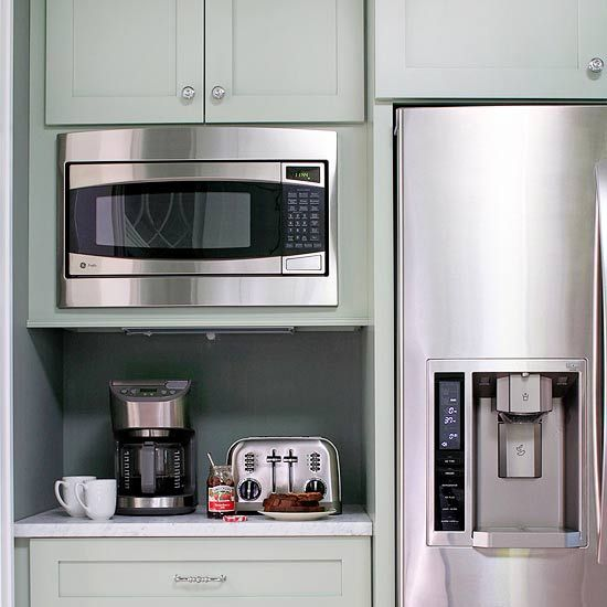 Breakfast Station        Efficiency is a must when cooking for a full house, and a compact breakfast bar, equipped with all the essentials, eases the morning routine. The built-in microwave saves counter space and anchors the breakfast station. The area also offers a coffeemaker and a toaster, and is also conveniently located next to the refrigerator.