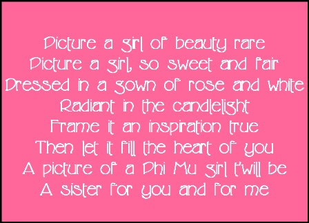 picture a girl song :) this will be sung  at my wedding by all my phi mu's present ;)