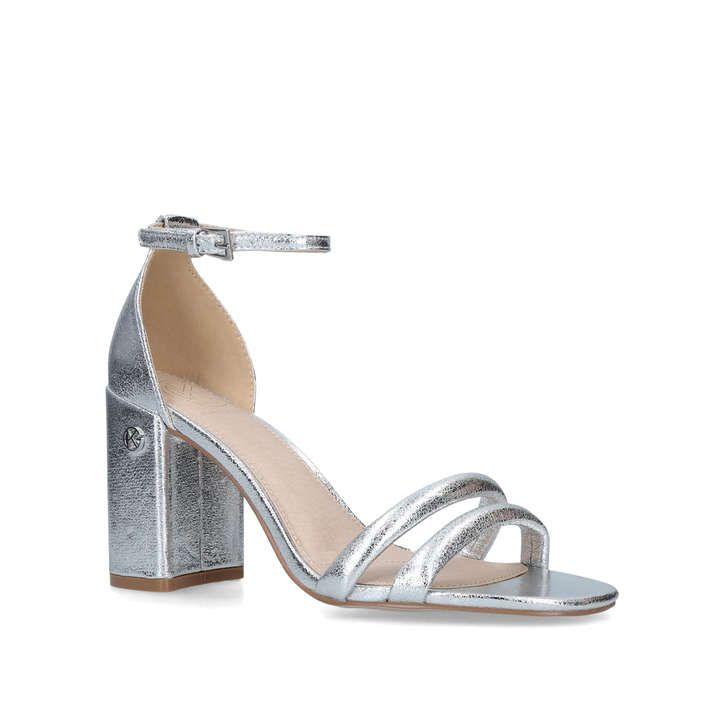 Frankie Metallic Silver Block Heel Sandals By KG Kurt Geiger