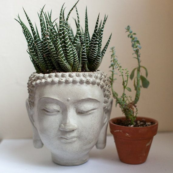 Large Buddha Head Planter  cement plant pot  by brooklynglobal