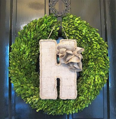 Make this easy burlap letter for your front door...great DIY tutorial in a few easy steps...would be cute to make one...or spell out a name for the wall!: Burlap Design, Crafts Ideas, Doors Decor, Burlap Letters, Crafts Abl, Green Wreaths, Burlap Doors Wal, Doors Great Diy, Front Doors Great