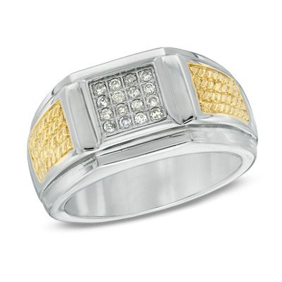 Men's Shaquille O'Neal Diamond Accent Ring in Two-Tone Stainless Steel