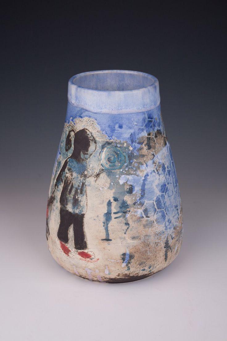 La Pioggia vase Ceramic wheel thrown white stoneware made by Ciro DiRuocco