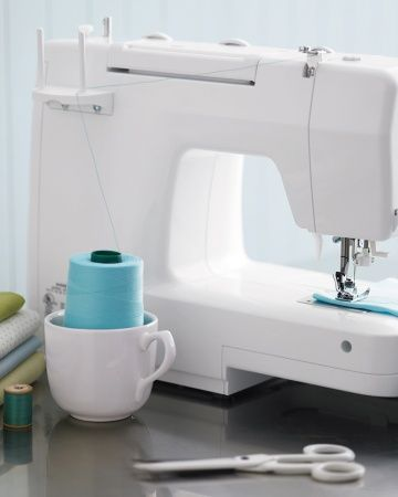 How has this brilliant idea escaped me? When the perfect thread comes on a spool that's imperfectly sized for your sewing machine, place the spool in a heavy mug, and position it on your work surface directly underneath the spool pin.