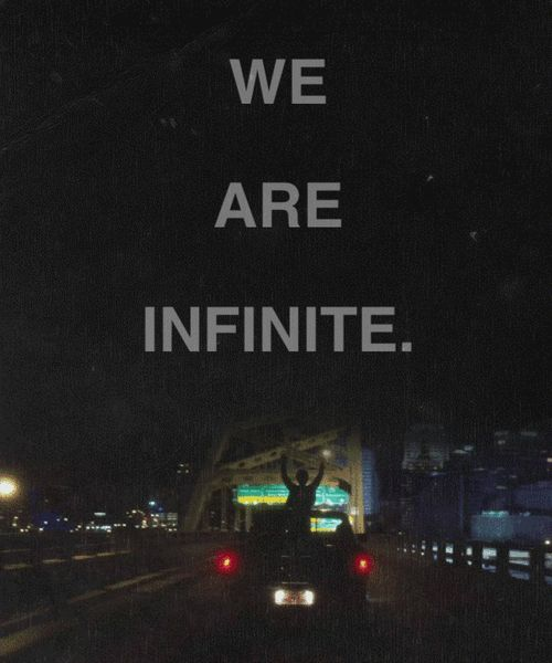when your listening to that song on that drive with the people you love most in this world, and you stand up and see the lights on the buildings and I that moment I swear..... WE ARE INFINITE