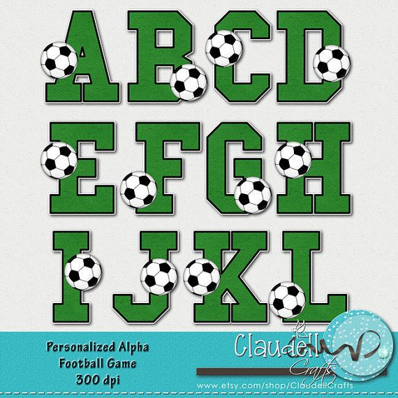 Football Soccer Game Clipart Alphabet 300 DPI | Football ...