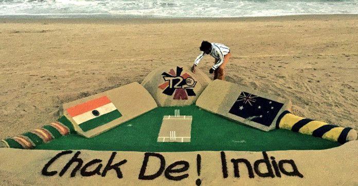 Chak De! India (IND vs AUS WT20 2016) – Amazing Sand Art by Sudarsan Pattnaik #INDvsAUS #AUSvsIND #Cricket Cricket Trolls #WT20 #ChakDeINDIA http://www.crickettrolls.com/2016/03/27/chak-de-india-ind-vs-aus-wt20-2016-amazing-sand-art-by-sudarsan-pattnaik/