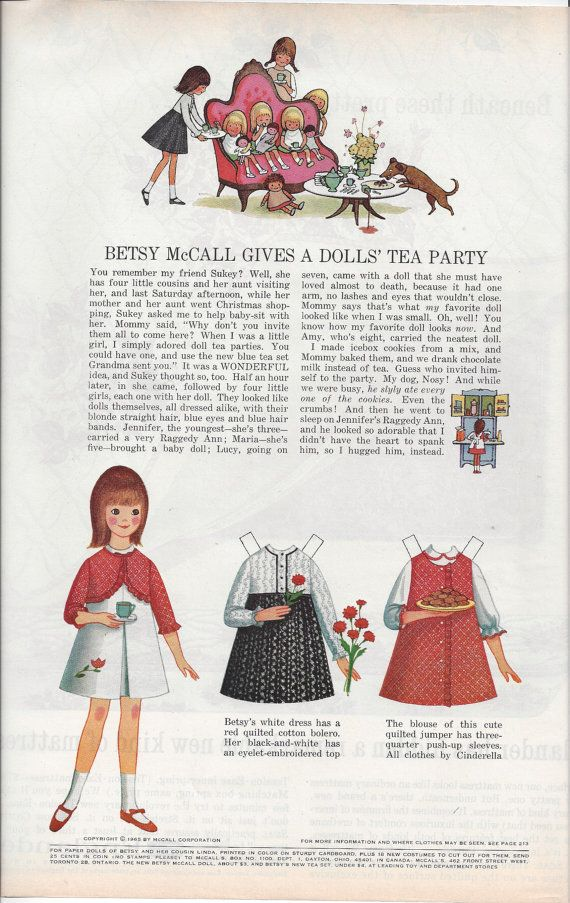627 best Paper dolls - Betsy McCall images on Pinterest | Free paper ...