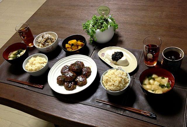 アスパラ入りのつくね、美味しいよ〜!是非、お試しあれ! (^-^)/ - 27件のもぐもぐ - アスパラつくね、筍ご飯、じゃことキノコの梅おろし和え、かぼちゃの煮物、冷奴海苔のせ、ふのお味噌汁、菊芋茶 by pentarou