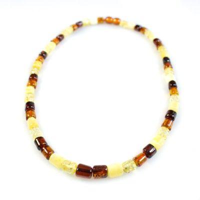 Collier d'ambre multicolore perle cylindrique - Bijoux d'Ambre
